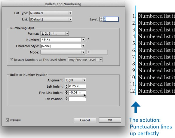 InDesign numbered list alignment