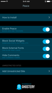 Peace content blocker for iOS