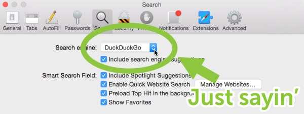 Safari Search preference