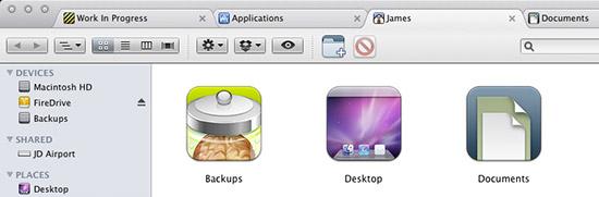 Tabs in Mac OS X's Finder windows