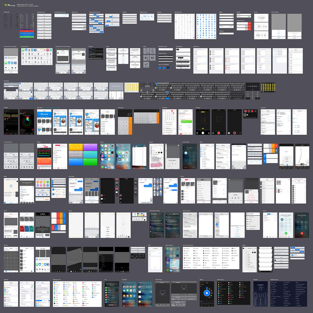 Free ios 93 iphone ui kit for illustrator in vector format the ios 93 ui kit maxwellsz