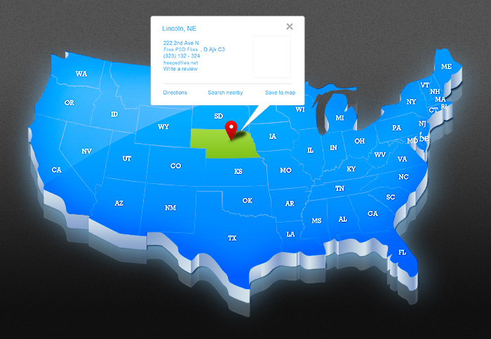 USA map PSD template designed in 3D style – The Graphic Mac