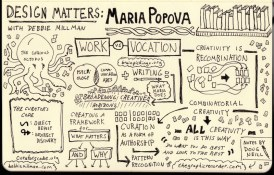 Sketchnotes of Maria Popova on Design Matters with Debbie Millman
