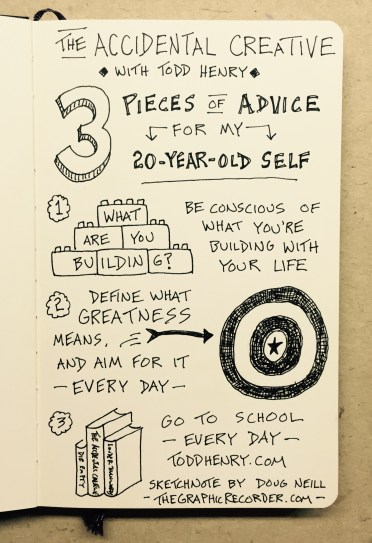 Todd Henry - Advice For My 20 Year Old Self - The Accidental Creative Podcast - Doug Neill - sketchnotes, visual note-taking, doodling, build, greatness, school
