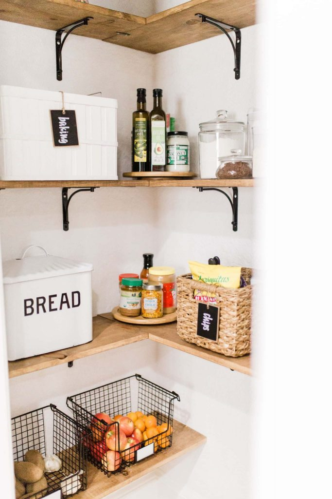 farmhouse pantry baskets and storage