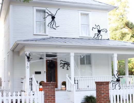 classic black spiders on a white farmhouse