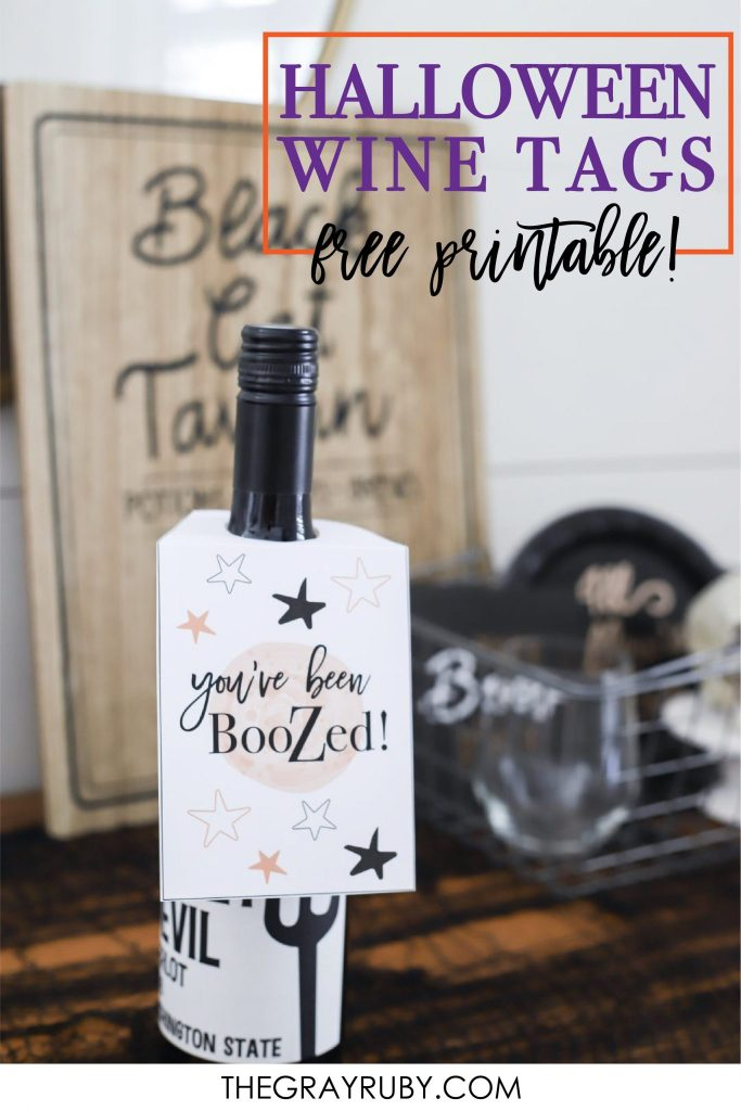 Halloween wine tags with a free printable