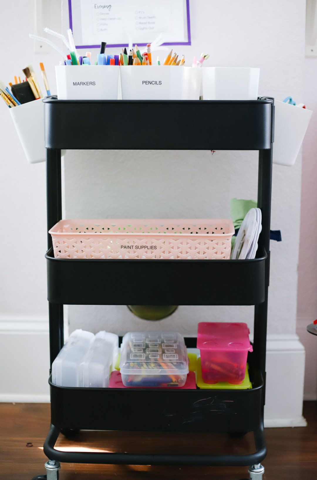 homeschool room art cart