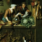 Woman and a Fish Peddler Willem Van Mieris 1713 National Gallery, London