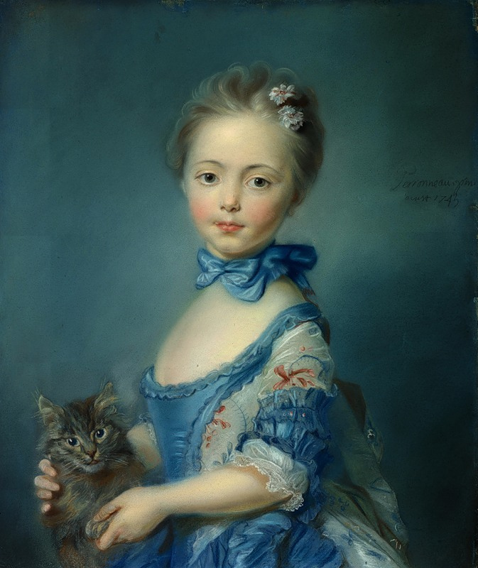 Image result for perronneau a girl with a kitten