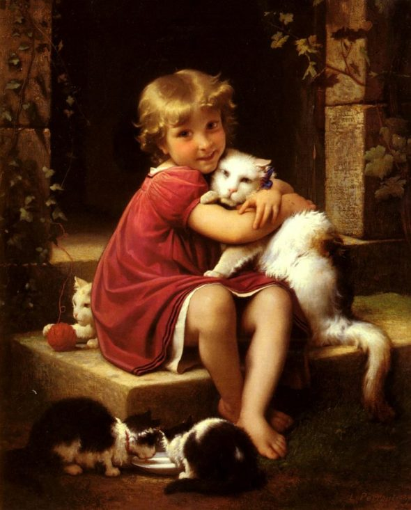 Leon-Jean Bazille Perrault, Child Holding a Cat with Kittens