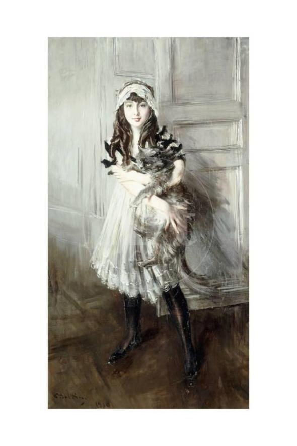 Giovanni Boldini, Portrait of Josefine Errazuriz Holding a Cat