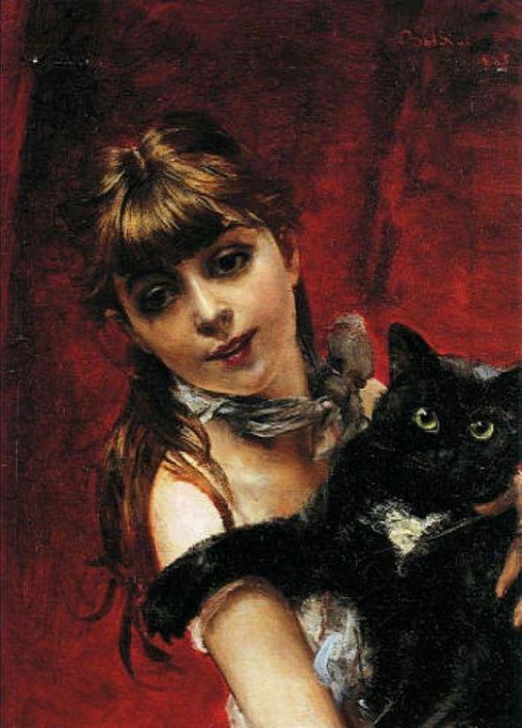 Giovanni Boldini, The Girl with a Black Cat