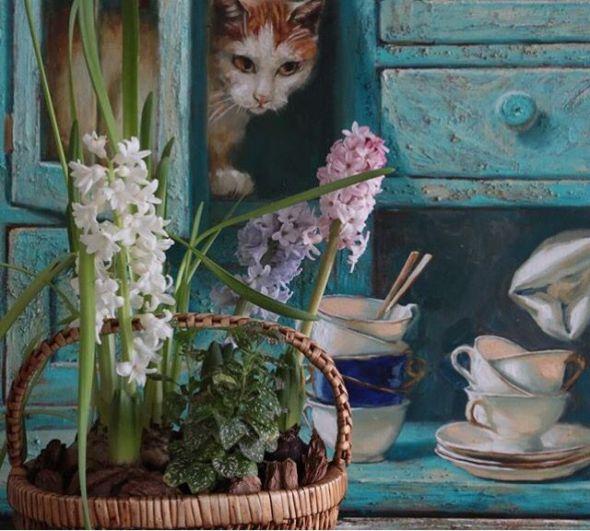 Cat and Flowers, Maria Pavlova