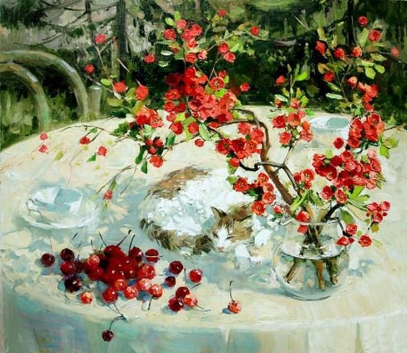 Cat with Cherries, Maria Pavlova