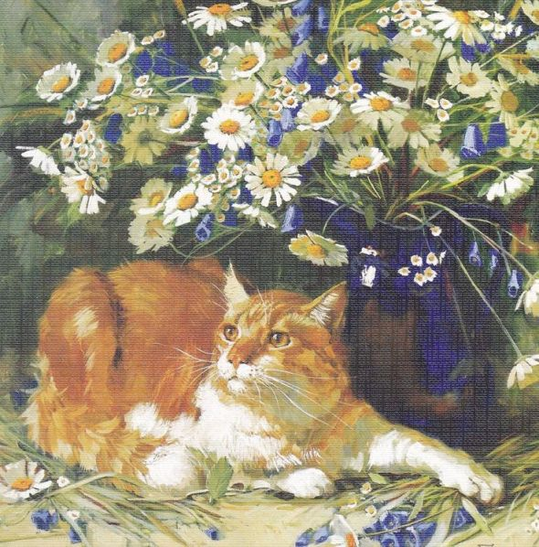 Cat with Flowers, Maria Pavlova