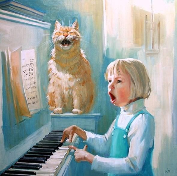 Girl and Cat Duet, Maria Pavlova