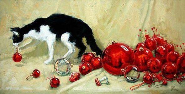 Red Christmas Balls and Cat, Maria Pavlova
