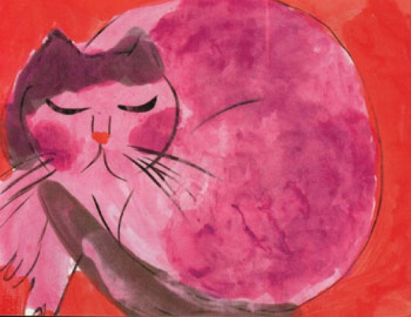 Walasse Ting, Cat on Red