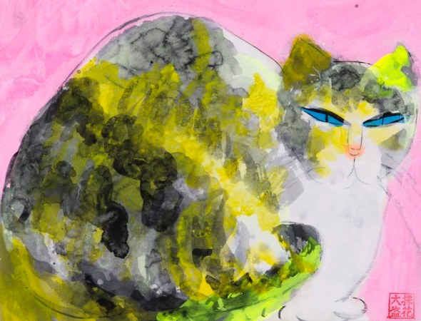 Walasse Ting, Cat with Pink Background