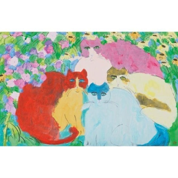 Walasse Ting, Cats with Flowers