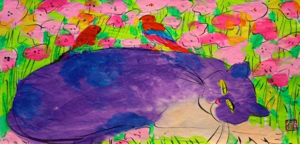 Walasse Ting, Purple Cat Lying Down