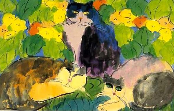 Walasse Ting, Three Cats