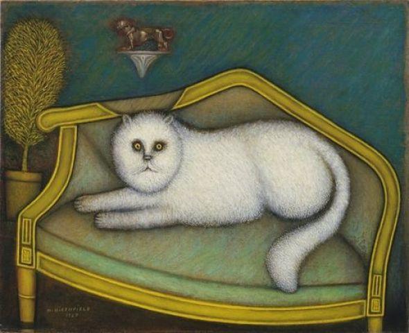 Morris Hirshfield (American, b. Poland, 1872-1946) - Angora Cat, 1937 - Oil on canvas.