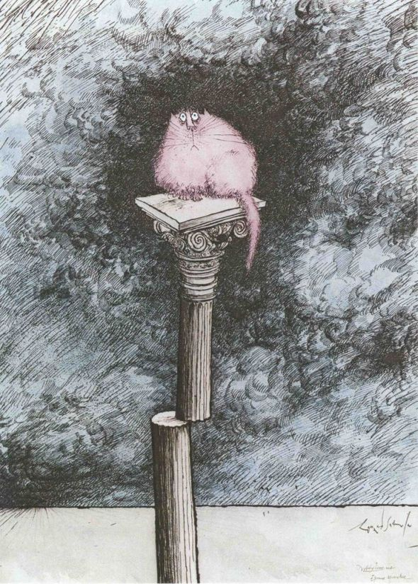Cat on a Pillar, Ronald Searle