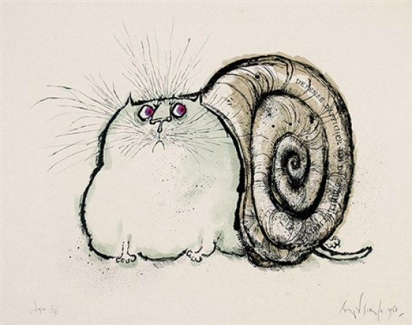 Cat with Snail Shell, Ronald Searle