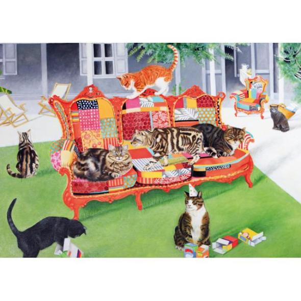 EB Watts, Cats on a Patchwork Sofa
