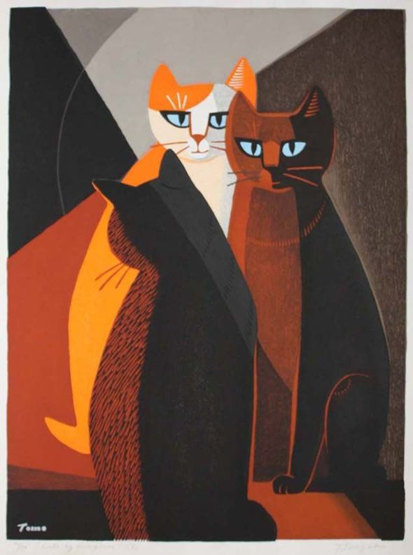Cats by Fireplace, Tomoo Inagaki