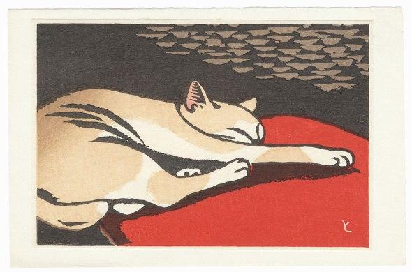 Sleeping Cat by Tomoo Inagaki (1902 - 1980)