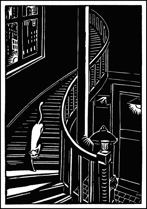 Engraving of Cat, from The City by Frans Masereel
