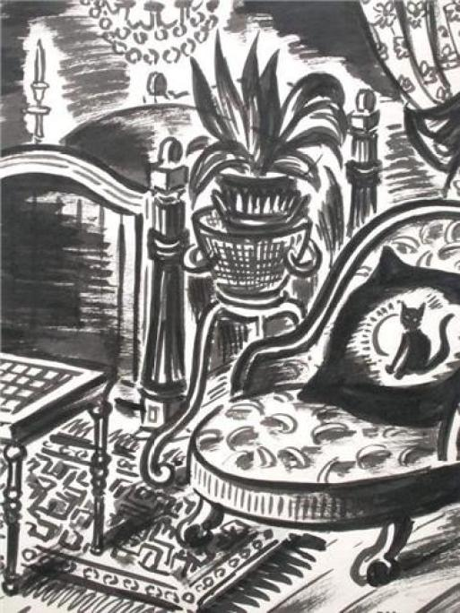 Frans Masereel, Cat on Cushion