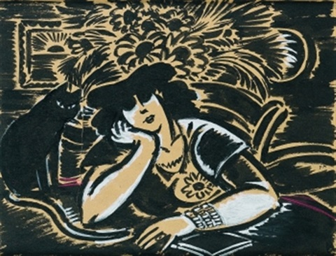 Frans Masereel, Dame mit Katze, Woman with Cat