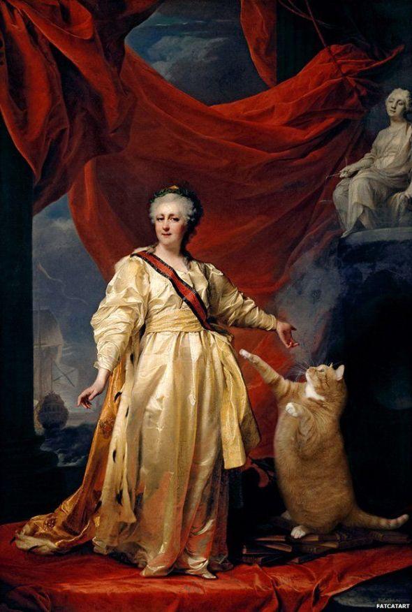 Svetlana Petrova, Portrait of Catherine II the Legislator in the Temple Devoted to the Cat, based on Dmitry Levitsky