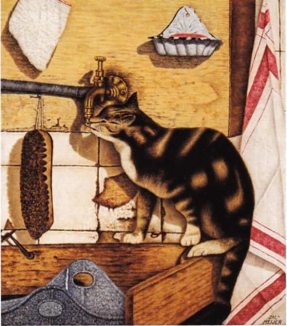 Cat Drinking from a Faucet, Sal Meijer