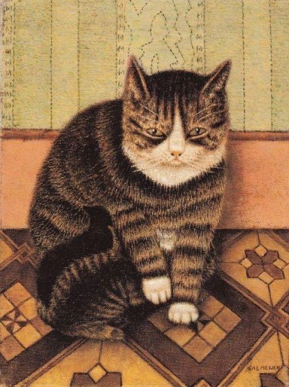 Sal Meijer (Dutch, 1877-1965) - Poes met twee jongen (Cat with two kittens)