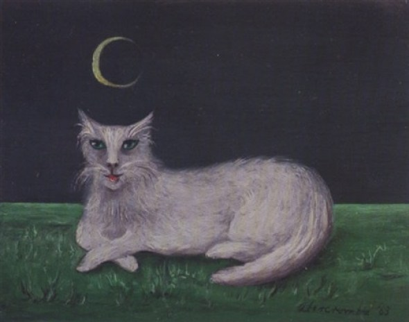 White Cat with Crescent Moon, Gertrude Abercrombie