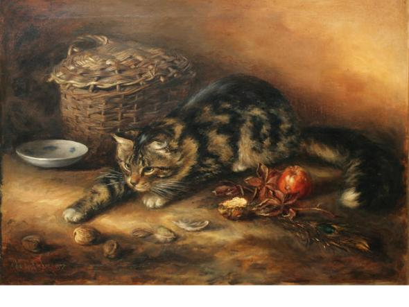 Ada Eliza Tucker (Exh. 1881-1928) British A watchful tabby cat surrounded by apples, walnuts, a peacock feather, basket and saucer,