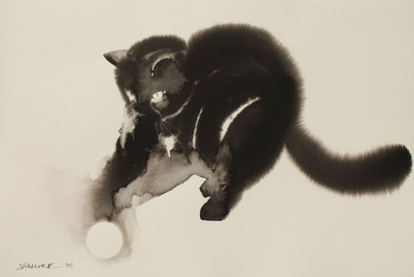 Endre Penovac, Black Cat Playing with Ball