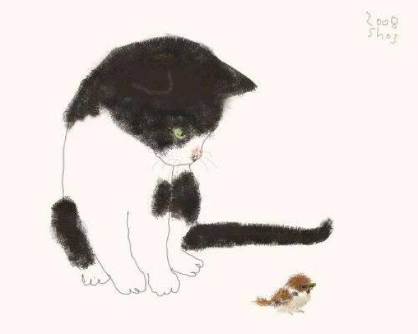 Tuxedo Cat and Bird