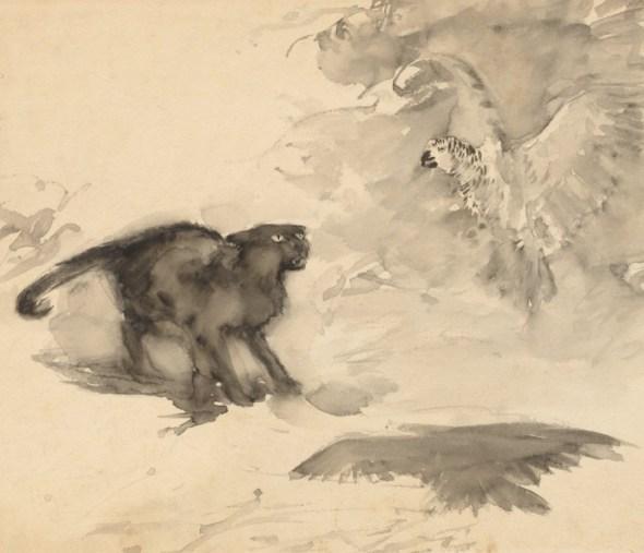 Cat and Bird, Arthur Rackham