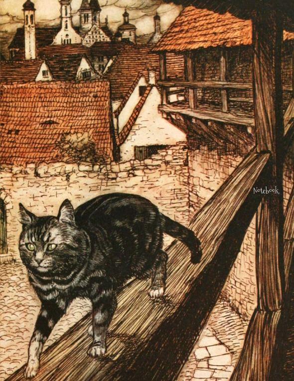 Hansel and Gretel cat, Arthur Rackham