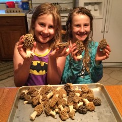 Two girls and their morels