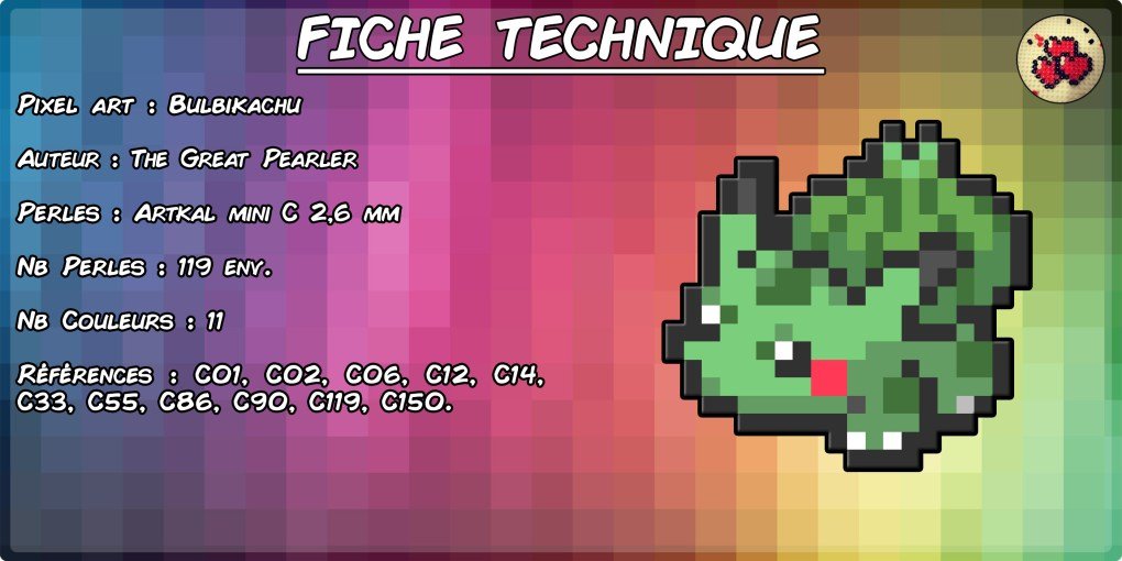 fiche-bulbikachu-fusion-pokemon-pixel-card-pixelart-pixelcraft-pixelbeads-perlerbeads-perlerart-hama-hamabeads-hamasprites-artkal-artkalbeads-fusebeads-retro-gaming-sprite-design-tutoriel