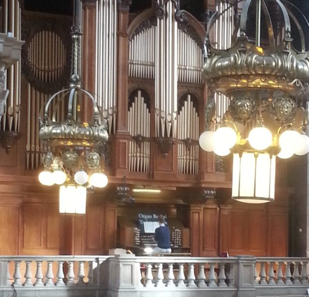 Organist performing