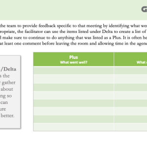 Template for facilitating plus/deltas at the end of the meeting.