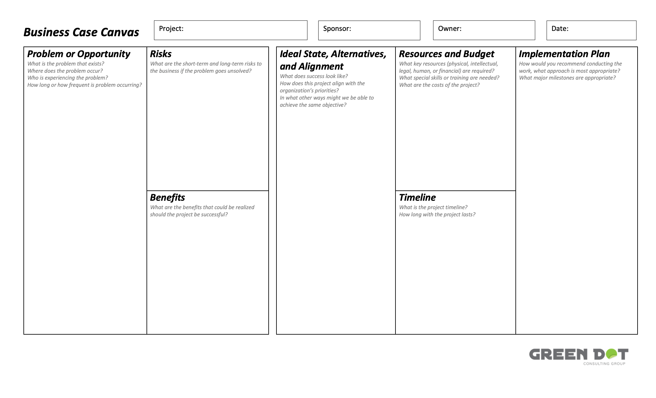 Project Business Case Canvas template